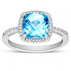 Blue Topaz Diamond Halo Ring